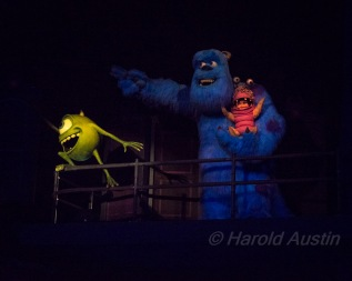 "Mike Wysowski, Sully and Boo. inside the ""Monster's Inc."" ride"