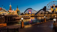 Early evening at Paradise Pier in the California Adventure side of Disneyland